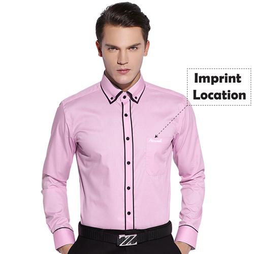 Double Layer Black Piping Long Sleeve Shirt Imprint Image