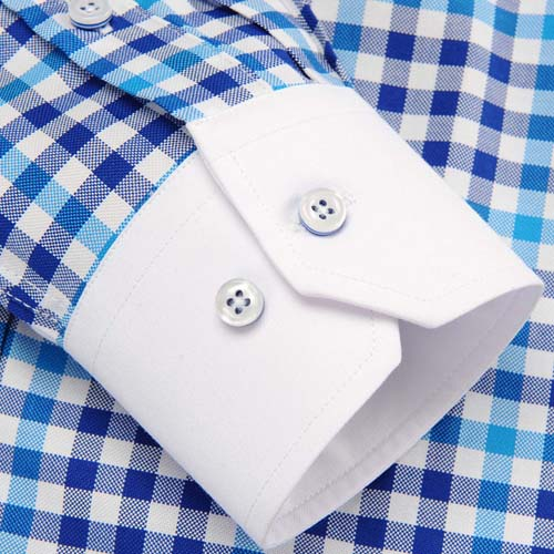 Square Collar Checked Shirts Image 4