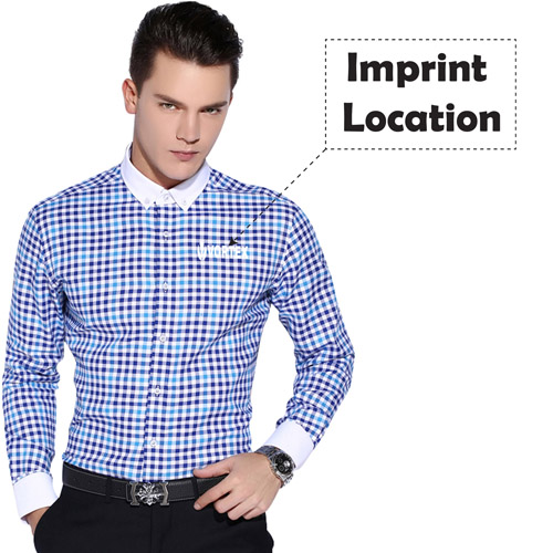 Square Collar Checked Shirts Imprint Image