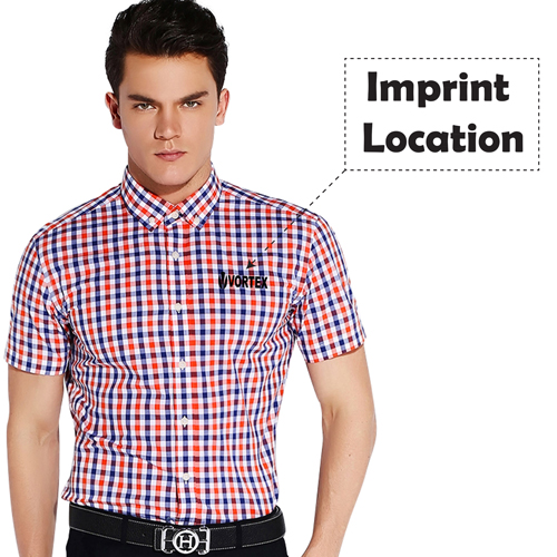 Lightweight Short Sleeve Plaid Striped Shirts Imprint Image