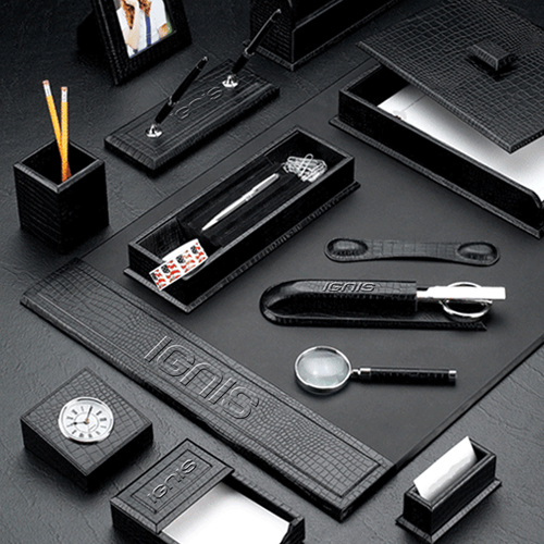 Croco Leather Desk Blotter Accessories Set