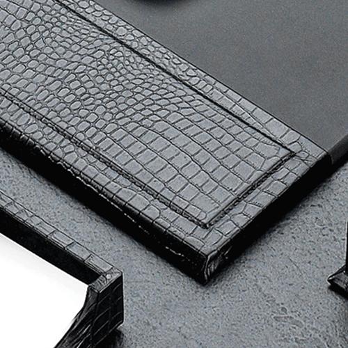 Croco Leather Desk Blotter Accessories Set Image 1
