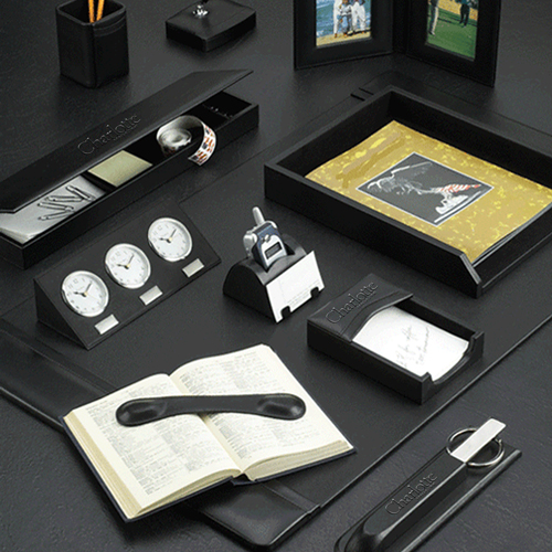 Black Leather Desk Pad Set