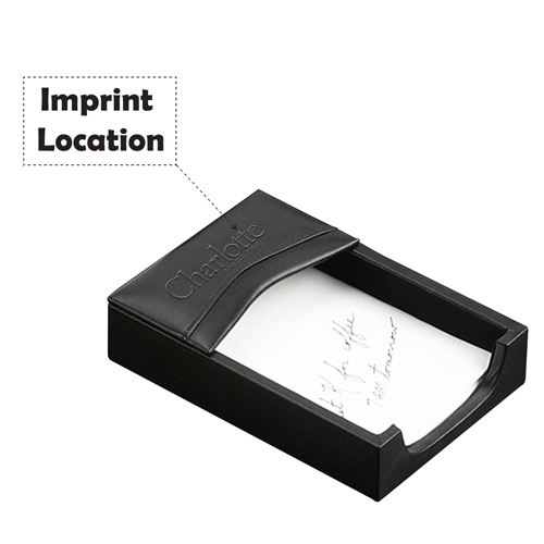 Black Leather Desk Pad Set Imprint Image