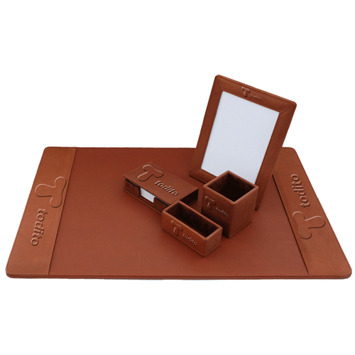 Five-Piece Leather Desk Pad Set
