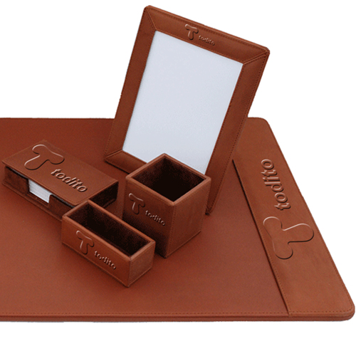 Five-Piece Leather Desk Pad Set Image 1