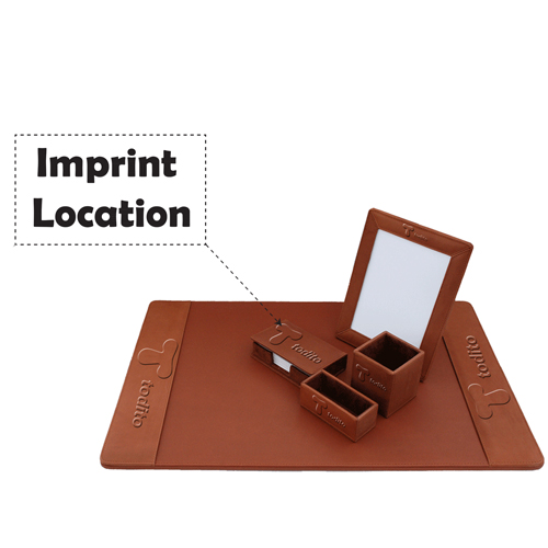 Five-Piece Leather Desk Pad Set Imprint Image