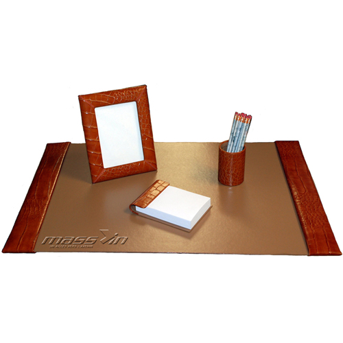 Small 4 Piece Croco Desk Pad Set