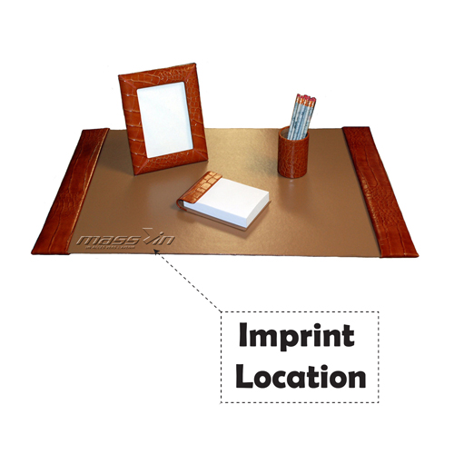 Small 4 Piece Croco Desk Pad Set Imprint Image