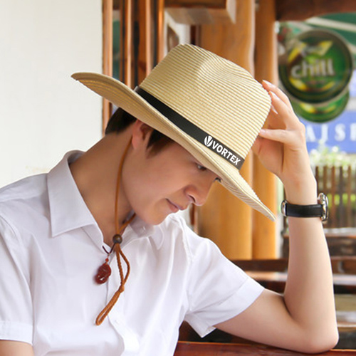 Outdoor Leather Belt Straw Hat