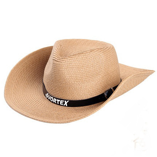 Outdoor Leather Belt Straw Hat Image 2