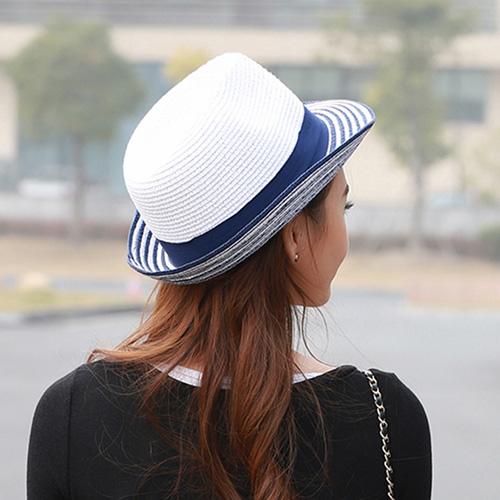 Striped Women Straw Hat Image 2