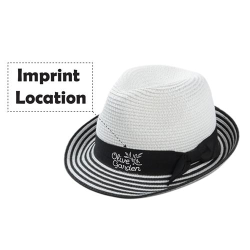 Striped Women Straw Hat Imprint Image