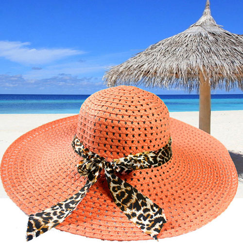 Wide Brim Leopard Ribbon Straw Hat