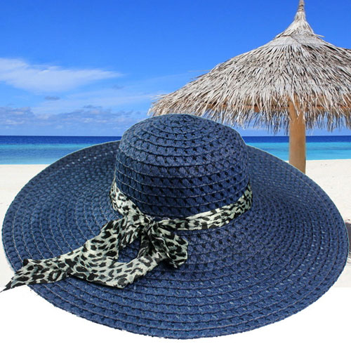 Wide Brim Leopard Ribbon Straw Hat Image 1