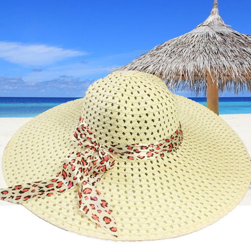 Wide Brim Leopard Ribbon Straw Hat Image 2
