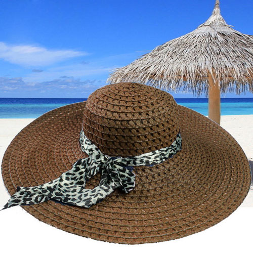 Wide Brim Leopard Ribbon Straw Hat Image 3