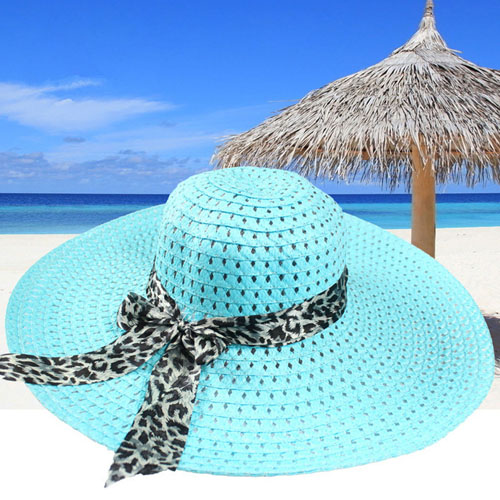 Wide Brim Leopard Ribbon Straw Hat Image 4