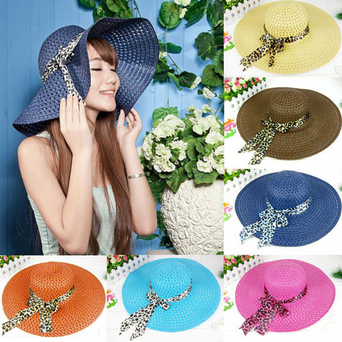 Wide Brim Leopard Ribbon Straw Hat Image 5