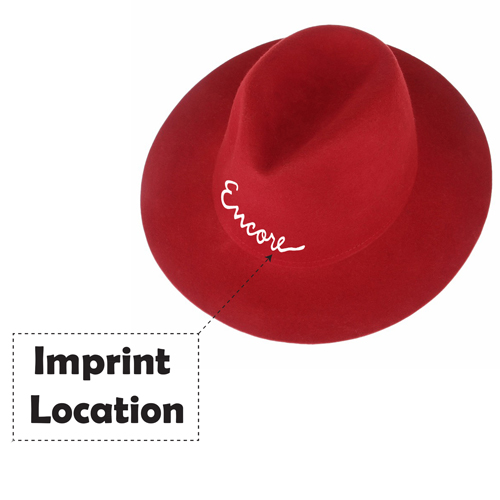 Wide Brim Women Wool Hat Imprint Image