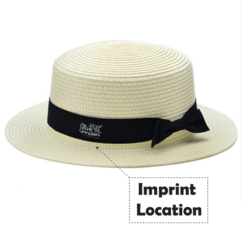 Foldable Womens Straw Hat Imprint Image
