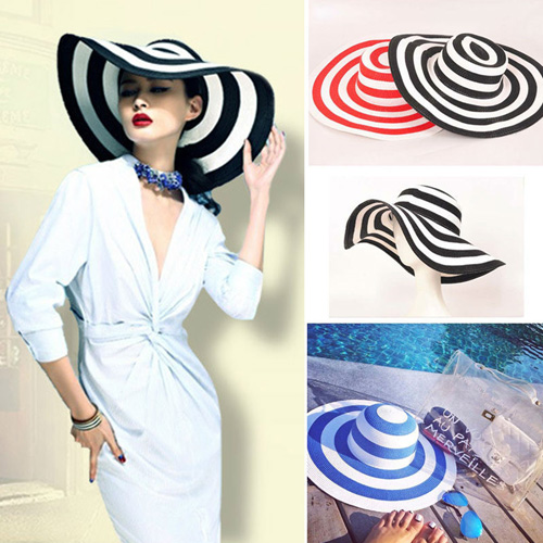 Striped Outdoor Large Brim Hat