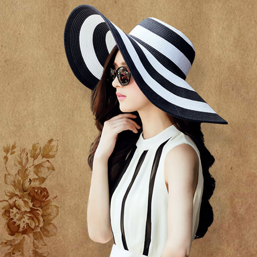 Striped Outdoor Large Brim Hat Image 1