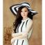 Striped Outdoor Large Brim Hat Image 2