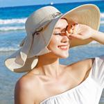 Large Brim Bowknot Design Beach Hat