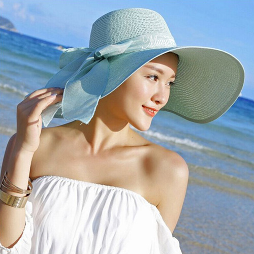 Large Brim Bowknot Design Beach Hat Image 1
