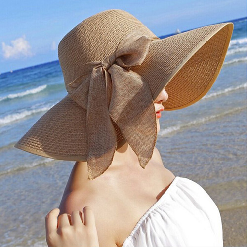 Large Brim Bowknot Design Beach Hat Image 2