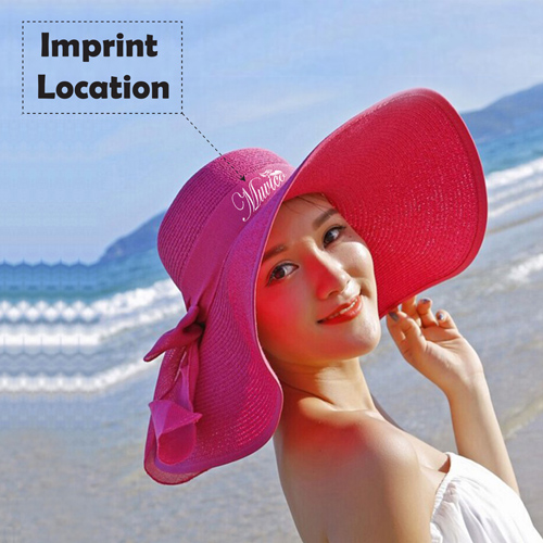 Large Brim Bowknot Design Beach Hat Imprint Image