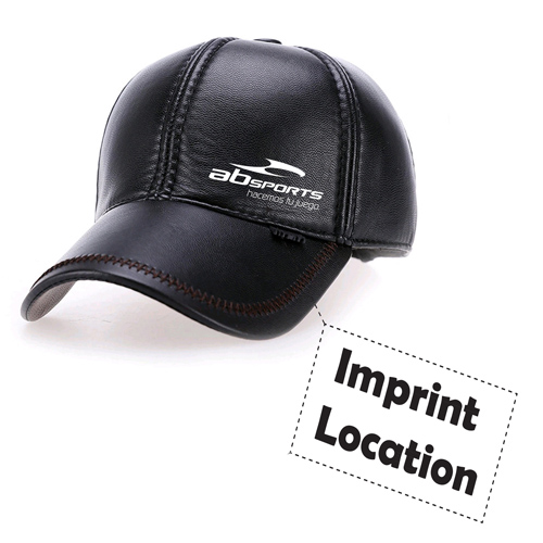 Baseball Winter Leather Cap Imprint Image