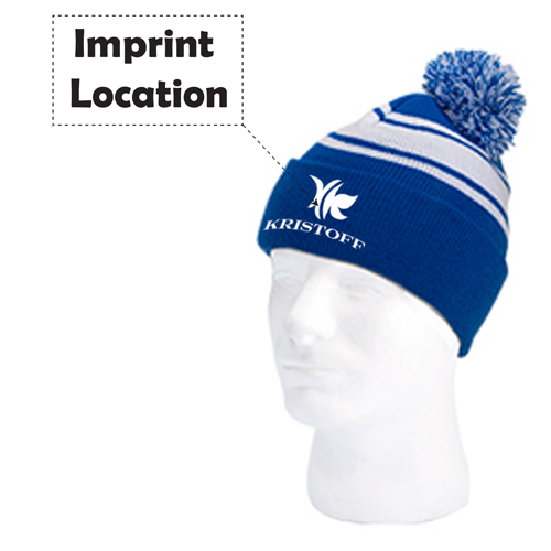 Pom Pom Knitted Beanie Imprint Image