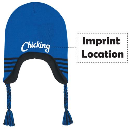 Stretchable Ski Beanie Ear Flaps Imprint Image