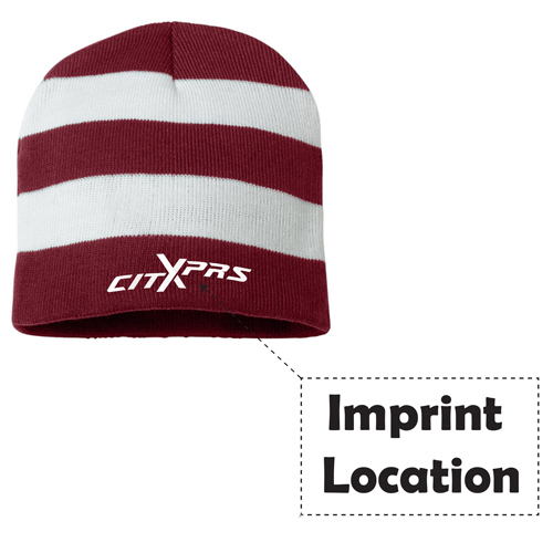 Sportsmen Striped Knitted Beanie Imprint Image