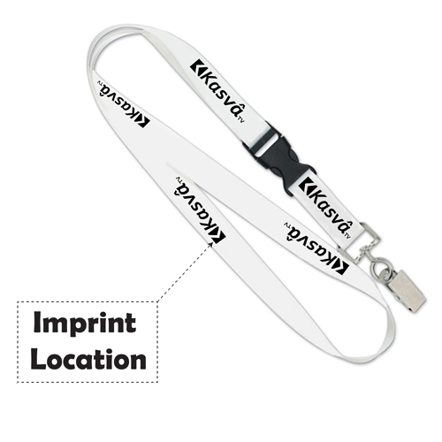 Detachable Buckle Swivel Bulldog Clip Lanyard Imprint Image