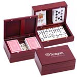 Wooden Domino Set with Two Decks Of Playing Card