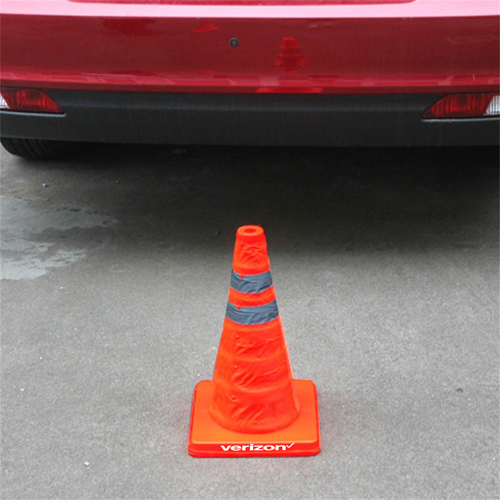 Reflective Folding Road Cone With Top Light Image 1