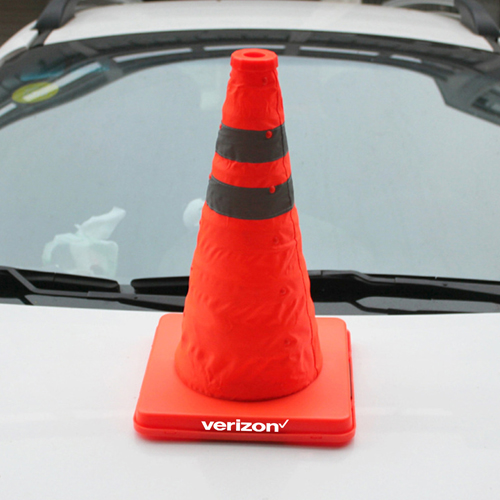 Reflective Folding Road Cone With Top Light Image 3