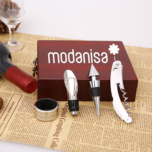 Wooden Box 4 Piece Wine Set Image 2