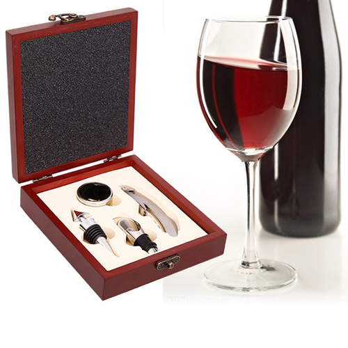 Wooden Box 4 Piece Wine Set Image 4
