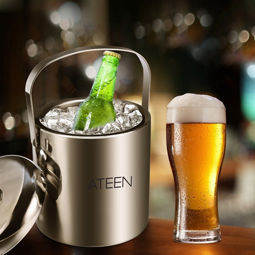 Double Wall Stainless Steel Ice Bucket With Tweezers Image 1