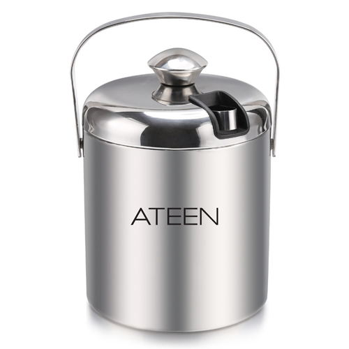 Double Wall Stainless Steel Ice Bucket With Tweezers Image 3