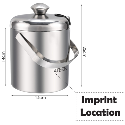 Double Wall Stainless Steel Ice Bucket With Tweezers Imprint Image