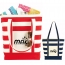 Trendy Striped Cotton Tote Bags