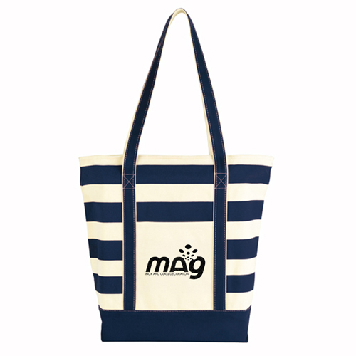 Trendy Striped Cotton Tote Bags Image 1