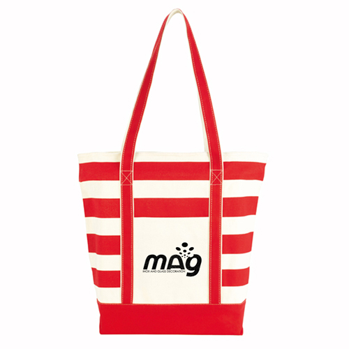 Trendy Striped Cotton Tote Bags Image 2