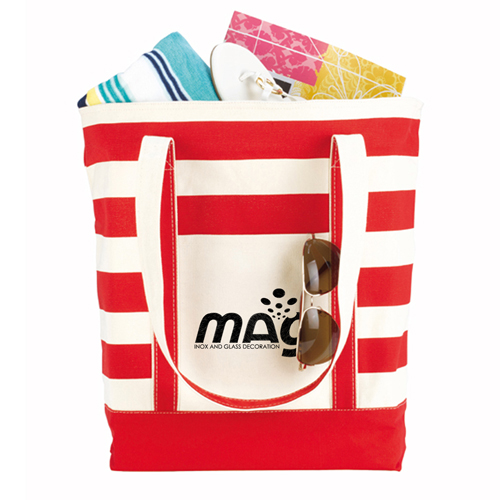 Trendy Striped Cotton Tote Bags Image 3