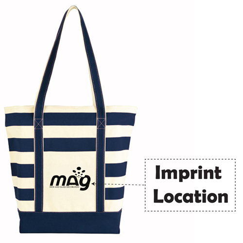 Trendy Striped Cotton Tote Bags Imprint Image